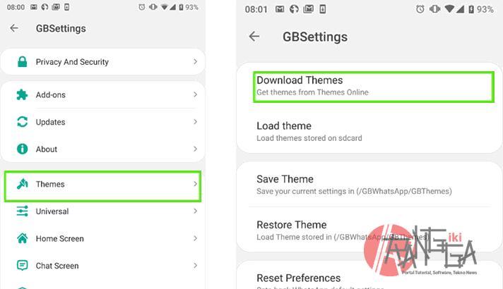 Kita bisa mencari GB Theme pada menu ini