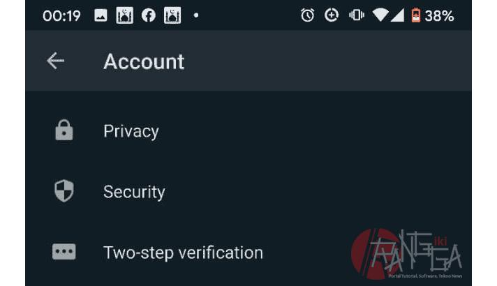 menu account untuk dsable double ceklist whatsapp